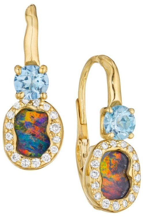 Mimi So's ZoZo Two-Drop Boulder Opal Earrings. Set with 2.3 carats of boulder opals and .17 carats of diamonds. Via Diamonds in the Library.