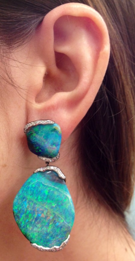 Mimi So's ZoZo boulder opal earrings; 101 carats of boulder opal and .80 carat of pave diamonds set in 18 karat white gold. Via Diamonds in the Library.