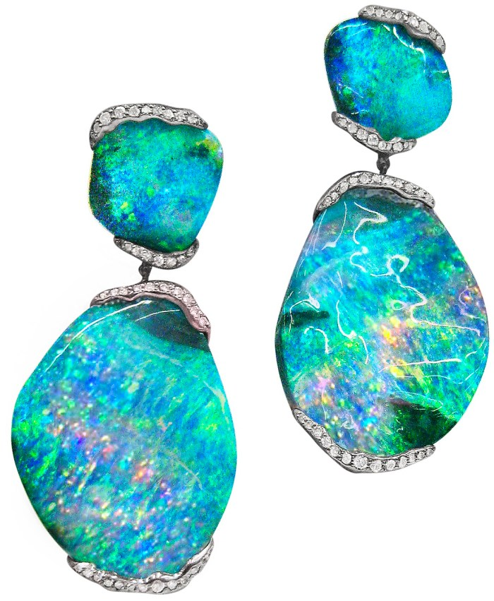 Mimi So's ZoZo boulder opal earrings - 101 carats of boulder opal and .80 carat of pave diamonds set in 18 karat white gold. Via Diamonds in the Library.