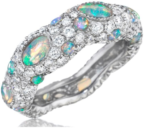Mimi So's ZoZo opal and diamond pave ring. 1.38 carats of opals and 1.87 carats of diamonds set in white gold. Via Diamonds in the Library.