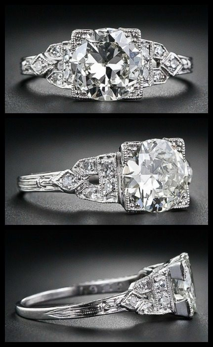 Art Deco diamond ring with a 1.40 carat European-cut center diamond, circa 1920s-1930s. Via Diamonds in the Library.