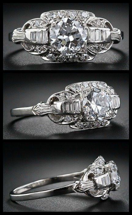 Art Deco diamond ring with 1.13 carat European cut diamond. Via Diamonds in the Library.