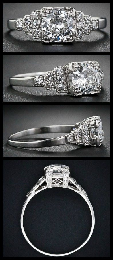 Art Deco diamond ring with a European-cut diamond, weighing .60 carats, circa 1930s. Via Diamonds in the Library.