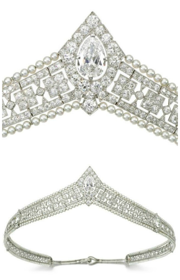 Seed pearl and diamond bandeau tiara, circa 1915. Via Diamonds in the Library.