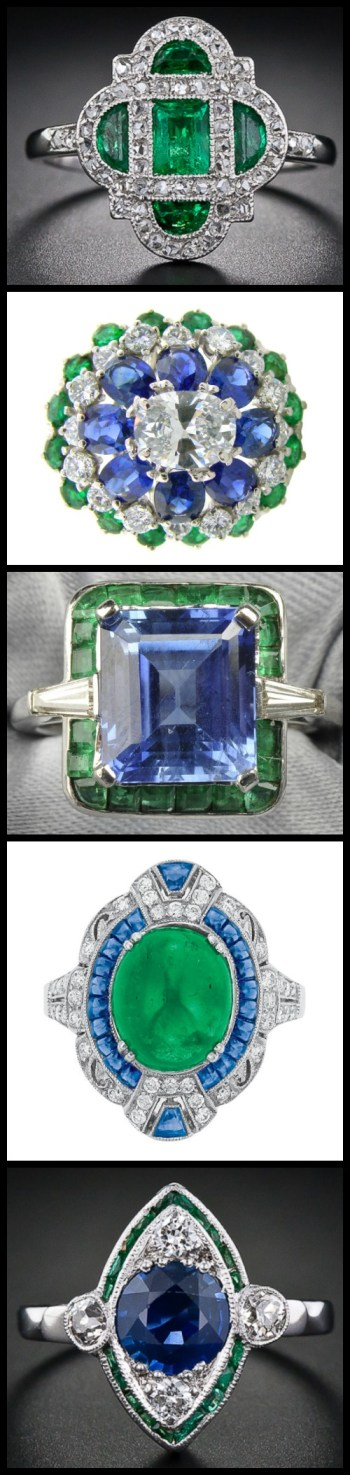 "This blog post is called ""emeralds with friends"" and it's all about the admiration of rings that feature emeralds looking amazing alongside other gemstones like diamonds and sapphires. Via Diamonds in the Library."