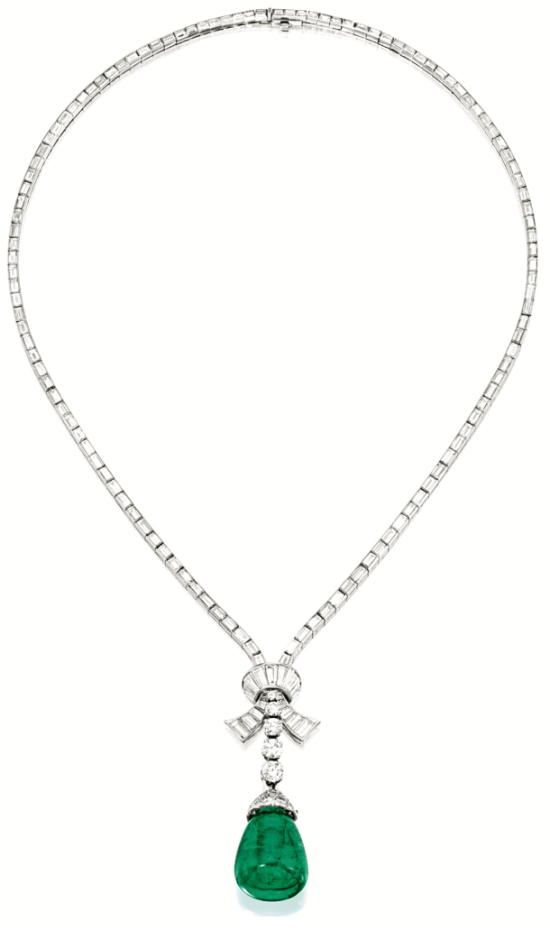 Van Cleef and Arpels diamond and emerald pendant necklace, circa 1951. Via Diamonds in the Library.