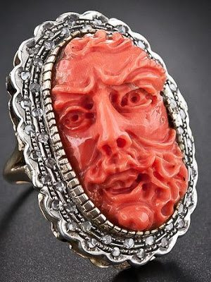 Antique Italian carved coral and diamond ring. Via Diamonds in the Library.