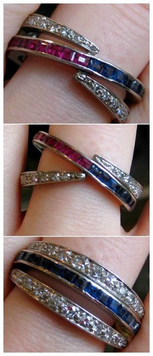 Antique ruby, diamond, and sapphire ring. The central band of this ring is half ruby and half sapphire. The outer bands are hinged; they can flip flop either way.