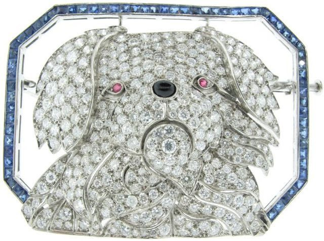 Art Deco cranky puppy brooch by Janesich, circa 1925. Diamonds, sapphires, and rubies. Via Diamonds in the Library.
