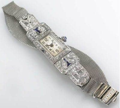 Art Deco diamond watch featured in Beth Bernstein's memoir, My Charmed Life. Via Diamonds in the Library.