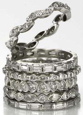 Beth Bernstein's stack of diamond and platinum eternity bands. The topmost made from diamonds that were originally in a pendant that her father gave to her mother.