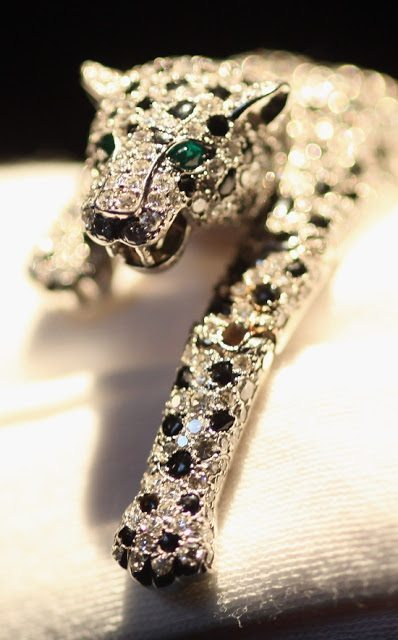 Cartier made the Duchess of Windsor's panther bracelet in 1952. The piece is pavé-set with brilliant- and single-cut diamonds and calibré-cut onyx. It is fully articulated for movement.