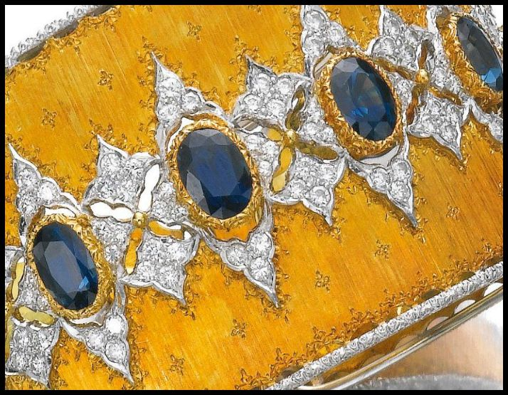 Detail - Gold, sapphire and diamond bangle, Buccellati. Via Diamonds in the Library.
