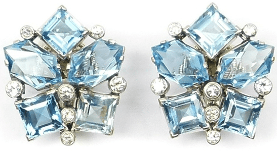 Earrings from a diamond and aquamarine suite, by Cartier. Circa 1940. Via Diamonds in the Library.