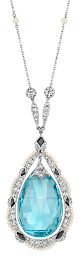 Edwardian aquamarine, diamond, pearl, and onyx necklace, circa 1915. Via Diamonds in the Library.