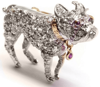 Front view - Art Deco diamond and ruby puppy brooch, circa 1905. Via Diamonds in the Library.