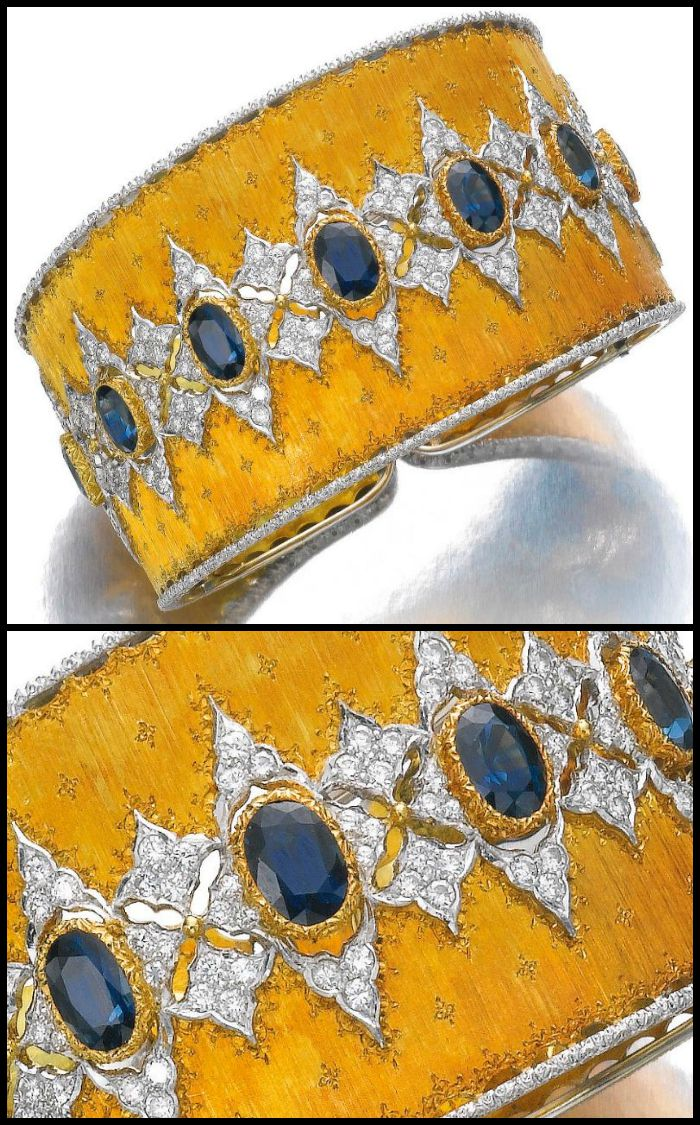 Full and detail views of a gold, sapphire and diamond bangle by Buccellati. Via Diamonds in the Library.