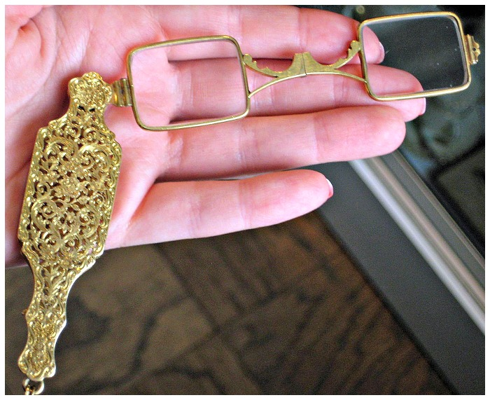 Gold Art Nouveau lorngette with floral details, from The Antique Guild in Old Town Alexandria, VA.