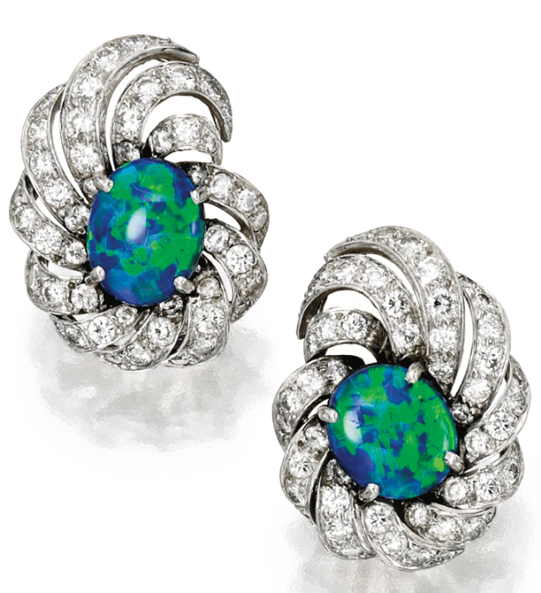 Harry Winston black opal and diamond earrings. Via Diamonds in the Library.
