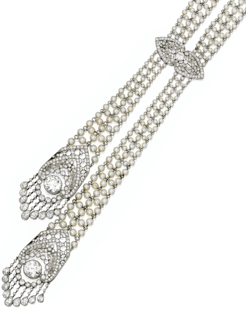 Tassel detail -  Edwardian seed pearl and diamond sautoir, J.E. Caldwell. Circa 1905. Via Diamonds in the Library.