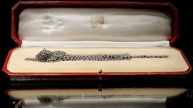 The Duchess of Windsor's Cartier panther bracelet rests in its box. The fully-articulated bracelet was made by Cartier in 1952.