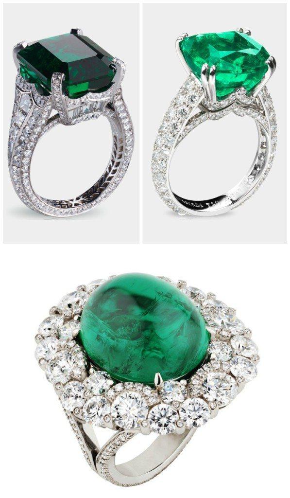 Three fabulous Fabergé emerald and diamond rings.