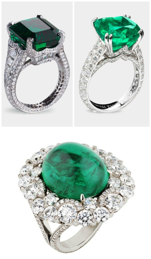 Three fabulous Fabergé emerald and diamond rings.