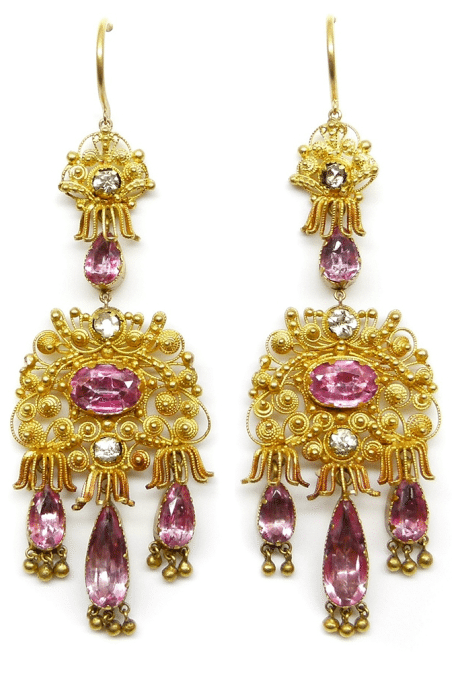 19th century cannetille gold and pink topaz earrings. Via Diamonds in the Library.