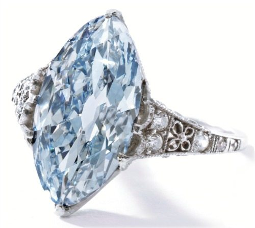 A blue diamond ring by Tiffany and Co., circa 1910. With a marquise-shaped 3.54 carat fancy blue diamond and tiny winking white diamonds on the platinum setting. Via Diamonds in the Library.