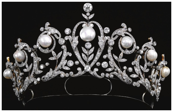 An antique diamond and pearl tiara, circa 1900.