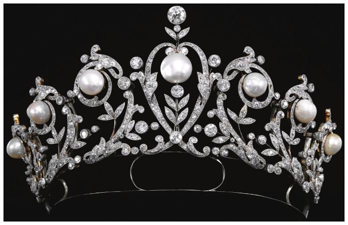 An antique diamond and pearl tiara, circa 1900.