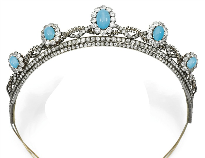 An antique turquoise cabochon and diamond tiara, circa 1880's.