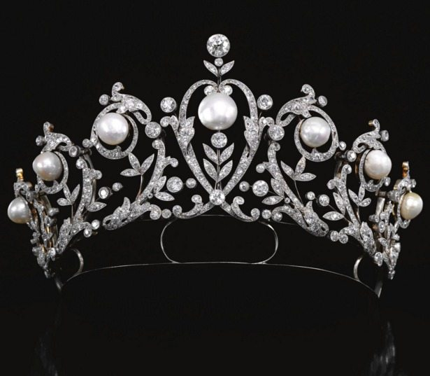 Antique diamond and pearl tiara, circa 1900.