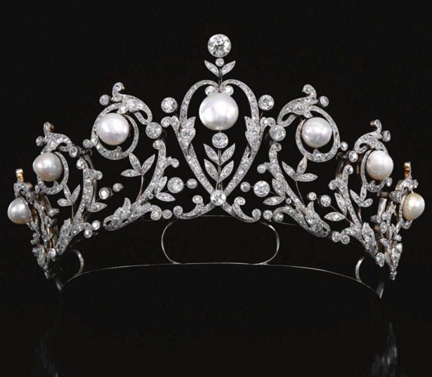 Antique diamond and pearl tiara, circa 1900.