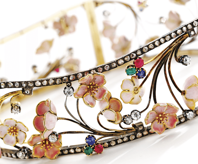 Art Nouveau cherry blossom choker with diamonds, rubies, sapphires, and emeralds. By Emile Froment-Meurice, circa 1900. Via Diamonds in the Library.