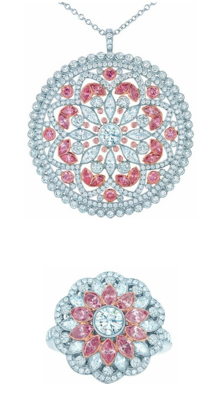 Beautiful jewels with pink diamonds from the Tiffany and Co 2013 Blue Book Collection.