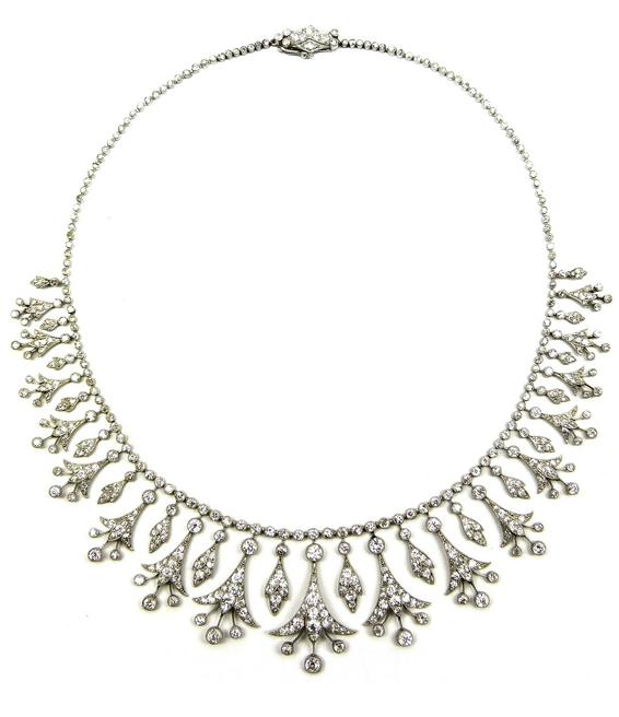 Belle Epoque diamond necklace, circa 1905. Converts to a tiara. Via Diamonds in the Library.
