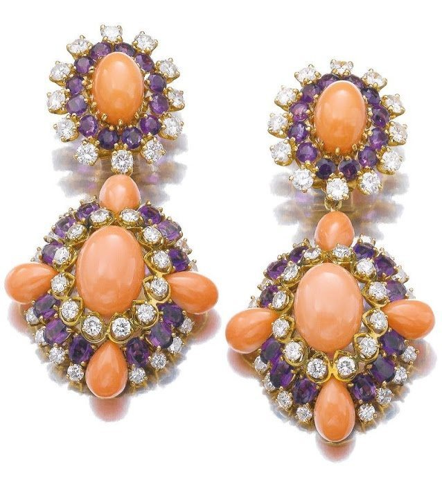 Coral, amethyst and diamond earrings, Van Cleef and Arpels.