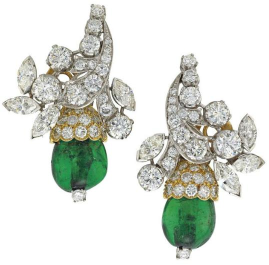 Earrings from an emerald and diamond set by Van Cleef and Arpels. Circa 1960's. Via Diamonds in the Library.