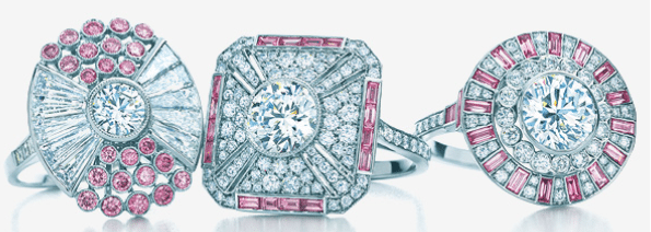 Several diamond and pink diamond rings from the 2013 Tiffany & Co. Blue Book Collection. Via Diamonds in the Library.