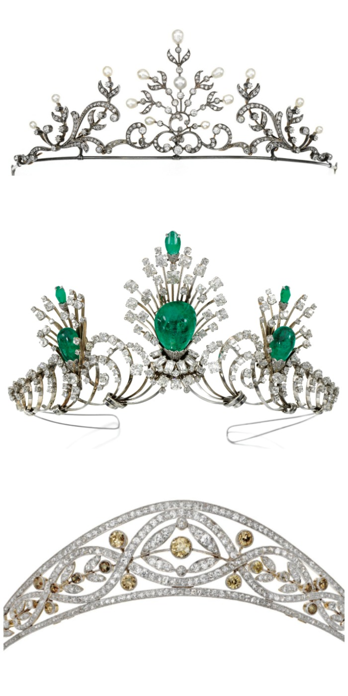 Three antique and vintage diamond tiaras; one with pearls, one with emeralds, and one with colored diamonds.