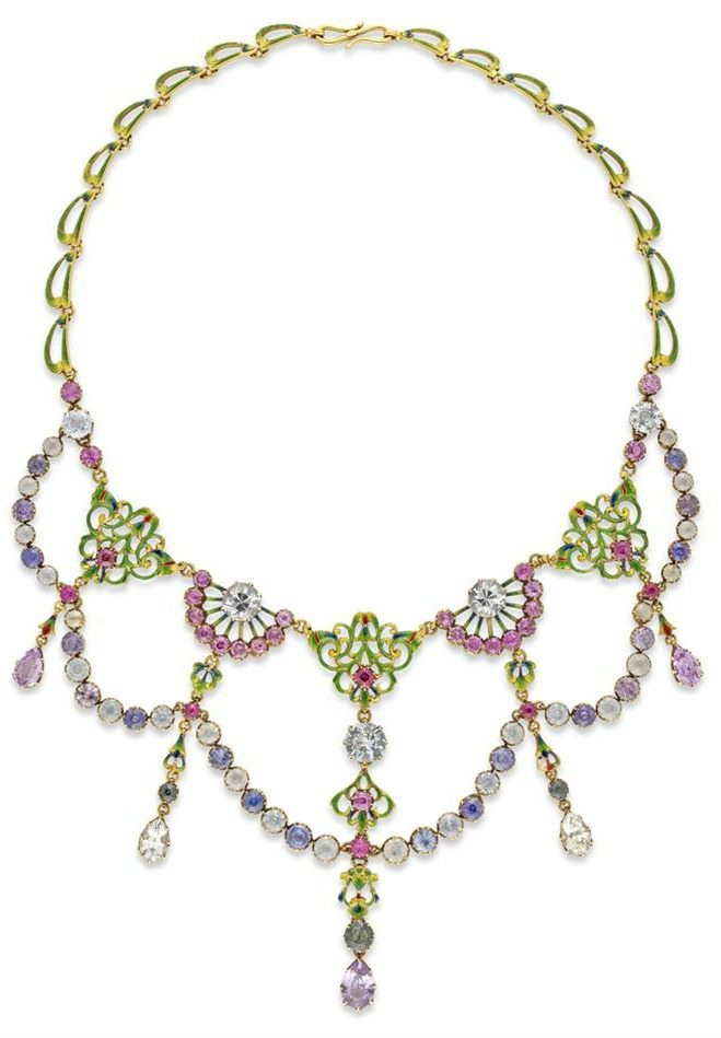 A beautifully colorful Renaissance-revival necklace by Carlo and Arthur Giuliano. With diamonds and enamel.
