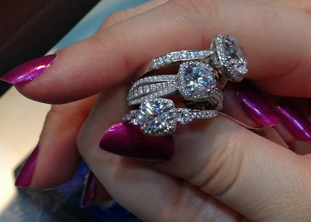 A hand full of Tacori diamond engagement rings. Via Diamonds in the Library.