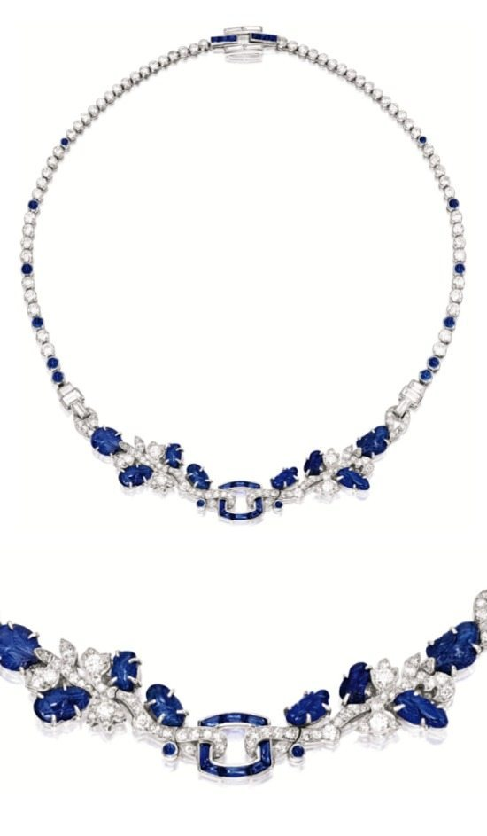 A stunning late Art Deco sapphire and diamond necklace by Cartier, circa 1930. Via Diamonds in the Library.