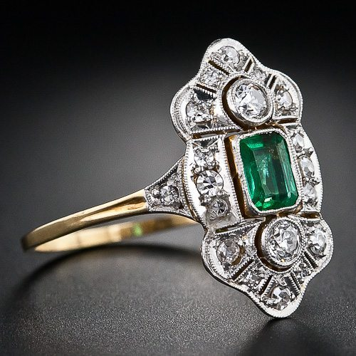Alternate view - Art Deco emerald and diamond dinner ring in platinum and gold. Via Diamonds in the Library.