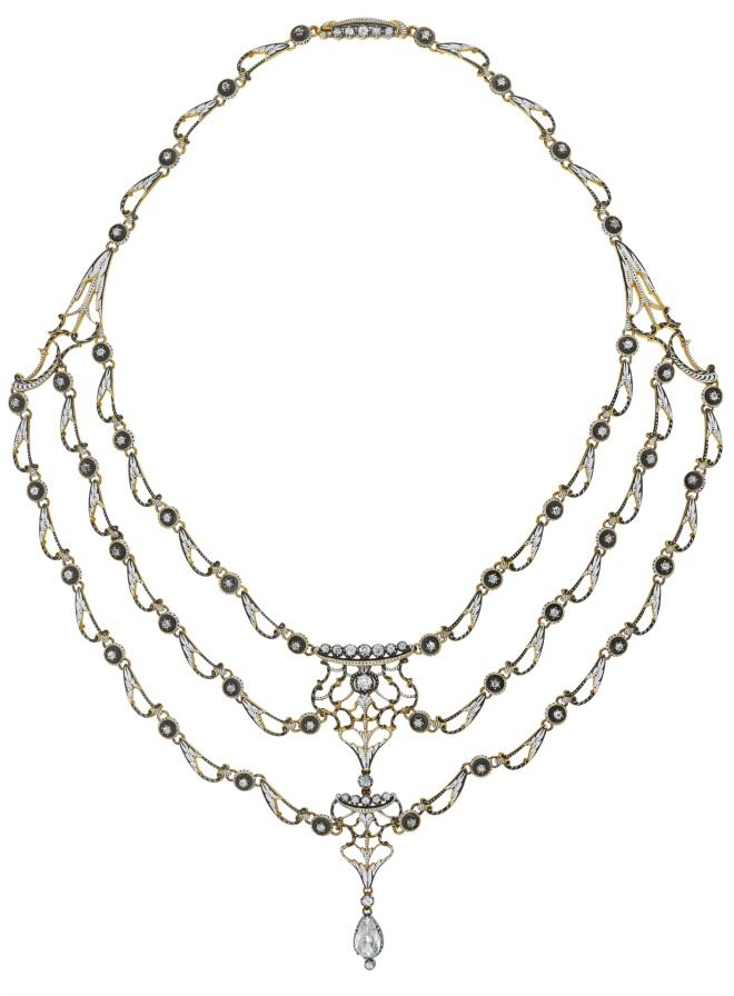Antique black and white enamel and diamond necklace by Carlo Giuliano.