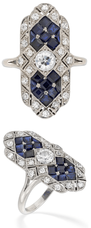 Art Deco-style sapphire and diamond table ring.