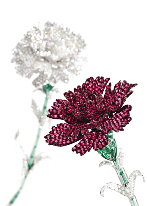 Carnation brooches by Michele della Valle. Set with 23.58 carats of diamonds. The stems are green tourmaline, and the red flower is set red spinel.