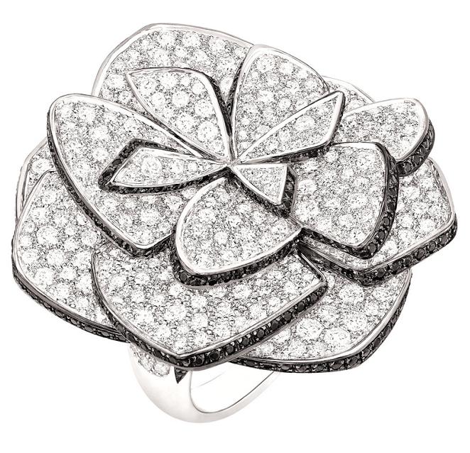 Chanel's Ruban de Camélia ring from the Jardin de Camélias collection. Via Diamonds in the Library.