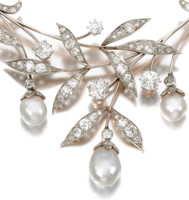Detail; Early 20th century Art Nouveau pearl and diamond necklace. Via Diamonds in the Library.